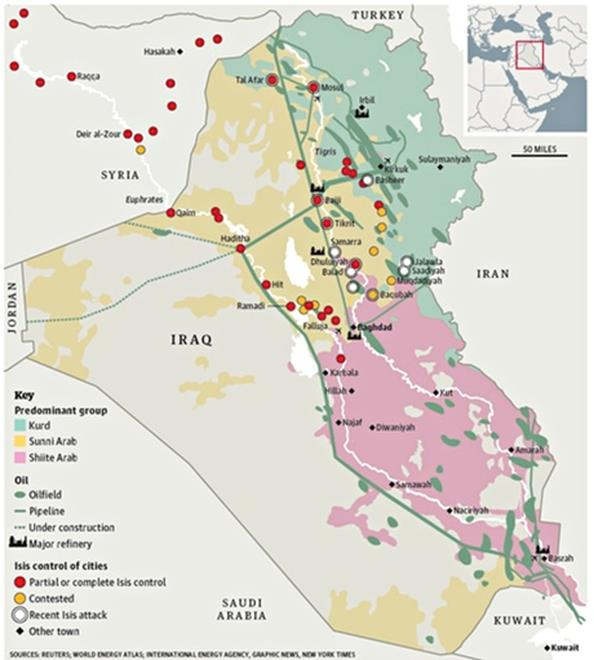 Figure – Map showing area in Iraq and Syria under ISIS control as of 18 June 2014 (The Guardian)