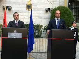 Samir Tahir e Angelino Alfano (ieri a Tirana Albania)