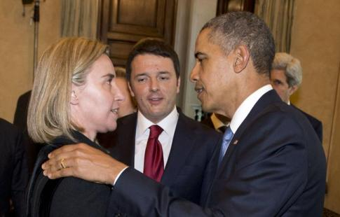 Mogherini, Renzi, Obama