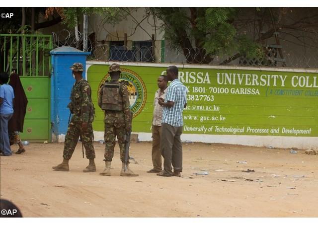 Members of Kenya Defense Forces secure the area of the Garissa University College in Garissa, northeastern Kenya, - AP