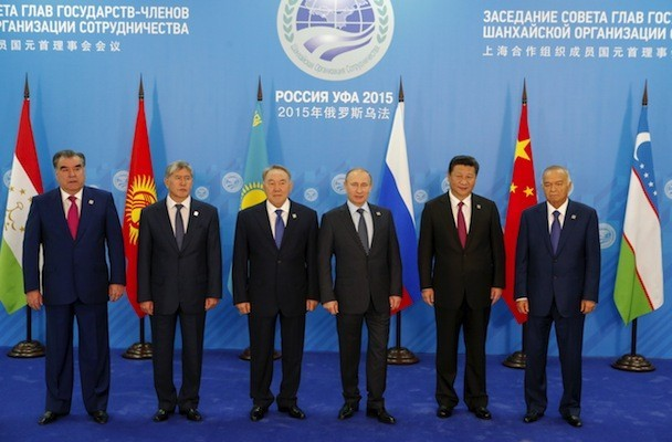 Leaders of Shanghai Cooperation Organization (SCO) countries pose for a picture before their meeting during summit in Ufa, Russia - July 10, 2015.  REUTERS/Sergei Karpukhin - RTX1JTM8 -