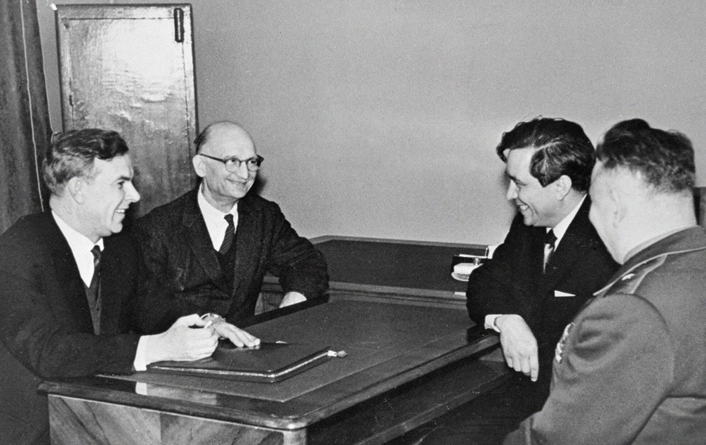 Vladimir Semichastny, chairman of the KGB, talking to Soviet intelligence officers Rudolf Abel (second from left) and Konon Molody (second from right) in ...(wikipedia)