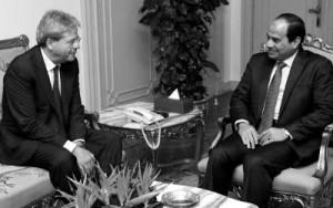 Il Ministro degli Esteri Paolo Gentiloni in un incontro con il presidente egiziano Abdel Fattah Al Sisi.