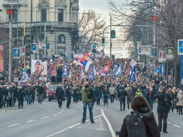 Anti-NATO protest on February 20 in Belgrade | Photo: Facebook
