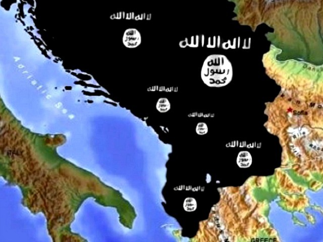 ISIS flag covering Balkan countries, portraying a 'Balkan Califate' | Photo from the Facebook profile of a Kosovar ISIS sympathiser