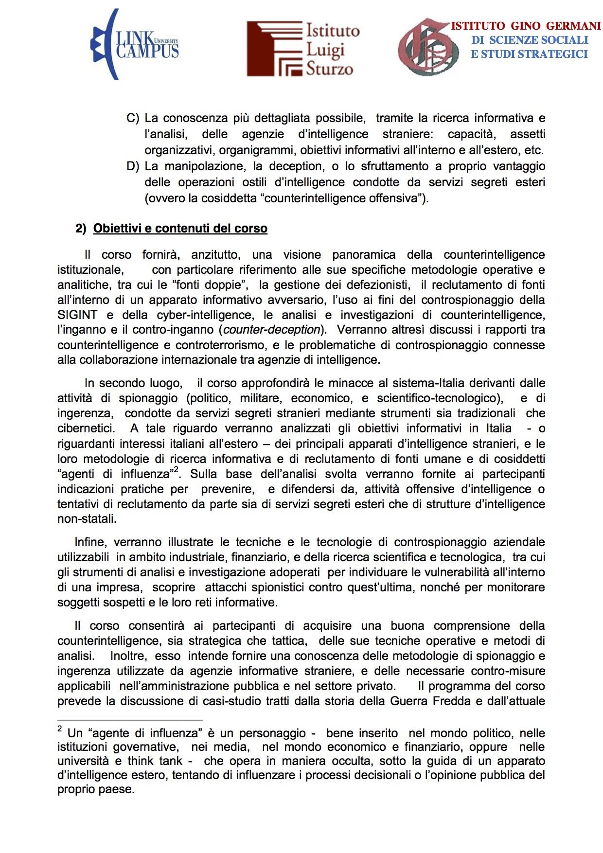 Corso di Alta Formazione Counterintelligence-controspionaggio e controingerenza per la protezione del sistema-paese 2