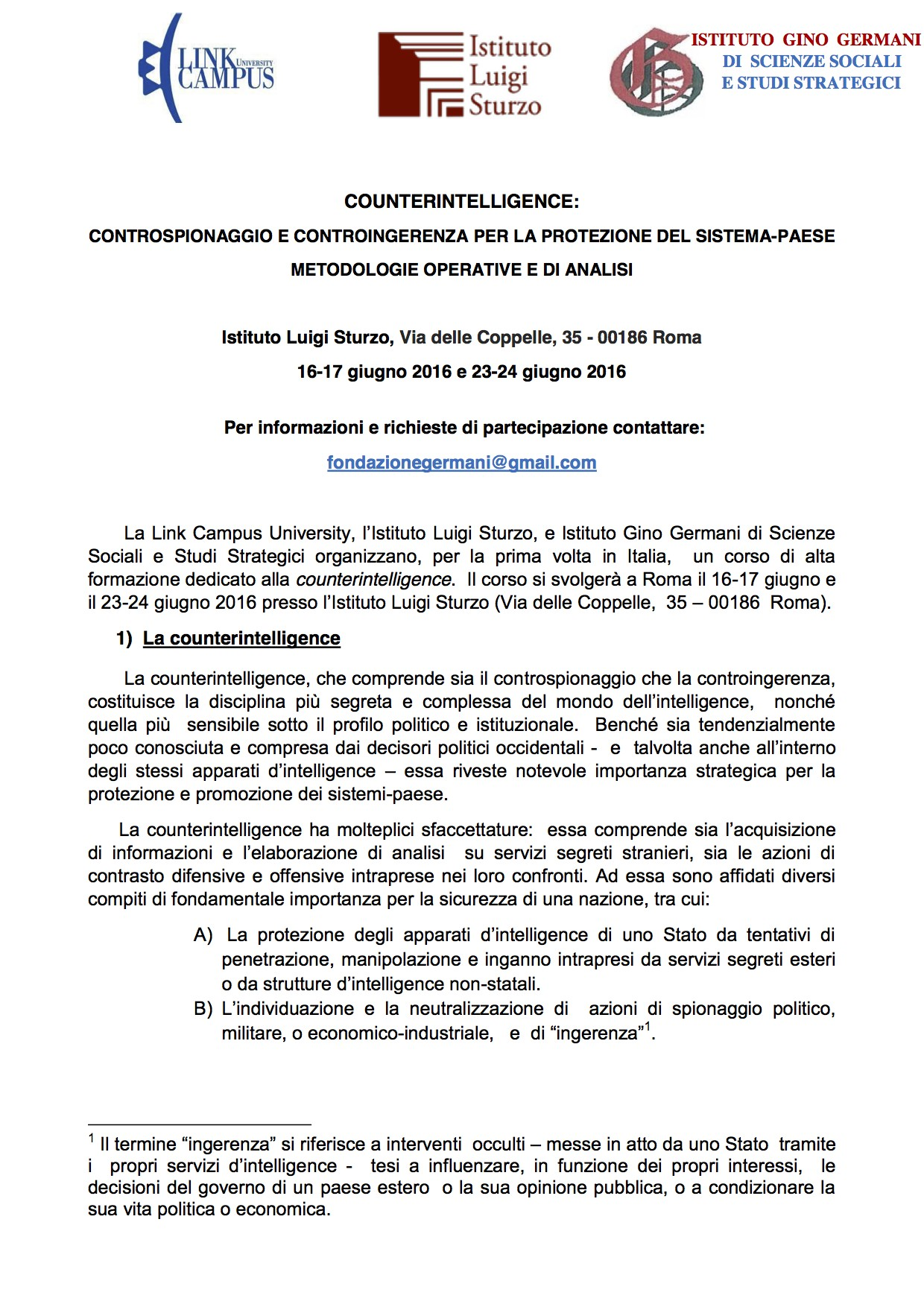 Corso di Alta Formazione Counterintelligence-controspionaggio e controingerenza per la protezione del sistema-paese giugno