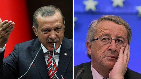 Turkey's President Recep Tayyip Erdogan (left) recently made affectionate statements expressing admiration not for the European Union, but for the last Islamic caliphate -- the Ottoman Empire, an expansionist Islamic realm that committed massacres, rapes, and sexual slavery of people in the lands it invaded. The question is when the EU will start acting like a self-respecting institution, and consider Turkey according to what it actually says and does? Pictured right: European Commission President Jean-Claude Juncker.
