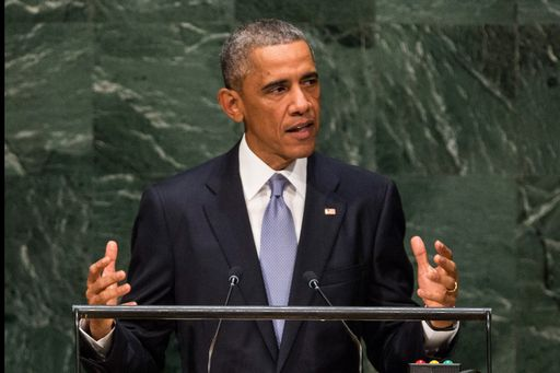 NEW YORK, NY - SEPTEMBER 24: U.S. President Barack Obama speaks at the 69th United Nations General Assembly at United Nations Headquarters on September 24, 2014 in New York City. The annual event brings political leaders from around the globe together to report on issues meet and look for solutions. This year's General Assembly has highlighted the problem of global warming and how countries need to strive to reduce greenhouse gas emissions.   Andrew Burton/Getty Images/AFP == FOR NEWSPAPERS, INTERNET, TELCOS & TELEVISION USE ONLY ==