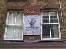 Targa in onore di Mazzini sulla casa londinese